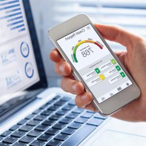 信用报告与分数评级应用在智能手机屏幕显示图片id1203955041